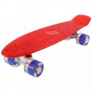 FunTomia® Mini-Board Skateboard und Tragetasche in transparent rot mit blauen LED-Leuchtrollen