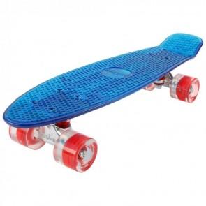 FunTomia® Mini-Board Skateboard und Tragetasche in transparent blau mit roten LED-Leuchtrollen (B-Ware)