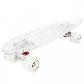 FunTomia® Mini-Board Skateboard und Tragetasche in transparent weiß mit weißen LED-Leuchtrollen