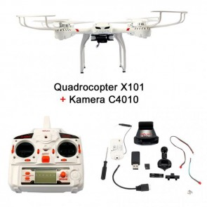 FunTomia® Quadrocopter MJX X101 RC Drohne 6-Axis Gyro Quad-copter Real Time 2.4 GHz inkl. FDP Kamera MJX C4010