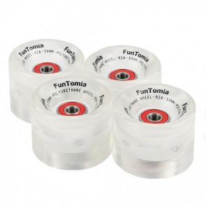 4x FunTomia® LED Skateboard/Miniboard Rollen 59x45mm 82A inkl. Kugellager und Spacer in weiß