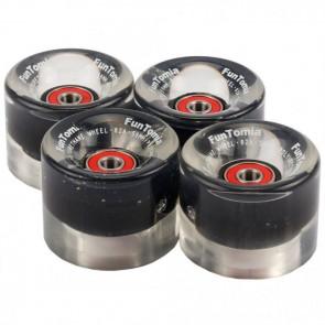 4x FunTomia® LED Skateboard/Miniboard Rollen 59x45mm 82A inkl. Kugellager und Spacer in schwarz