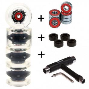 4x FunTomia® LED Longboard/Skateboard Rollen 80A inkl. Mach1® Kugellager und Spacer in schwarz und T-Tool Schraubenschlüssel (Werkzeug)