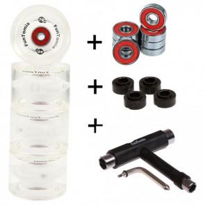 4x FunTomia® LED Longboard/Skateboard Rollen 80A inkl. Mach1® Kugellager und Spacer in weiß und T-Tool Schraubenschlüssel (Werkzeug)