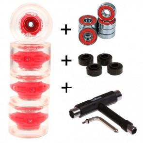 4x FunTomia® LED Longboard/Skateboard Rollen 80A inkl. Mach1® Kugellager und Spacer in rot und T-Tool Schraubenschlüssel (Werkzeug)