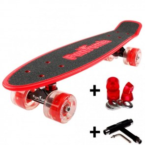 FunTomia® Mini-Board Rot mit Big Wheel LED Rollen und ABEC11 Kugellager  inkl. 1x T-Tool+Lenkgummis