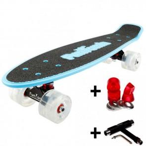 FunTomia® Mini-Board Blau mit Big Wheel LED Rollen und ABEC11 Kugellager inkl. 1x T-Tool+Lenkgummis