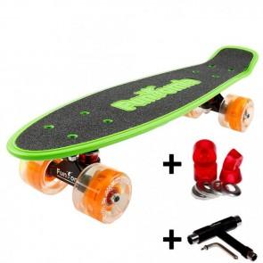 FunTomia® Mini-Board grün mit Big Wheel LED Rollen und ABEC11 Kugellager 1x T-Tool+Lenkgummis