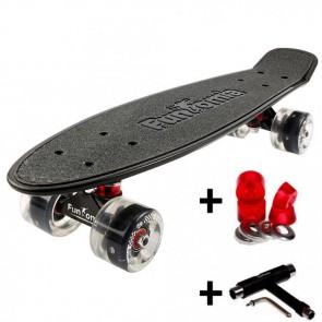 FunTomia® Mini-Board schwarz mit Big Wheel LED Rollen und ABEC11 Kugellager 1x T-Tool+Lenkgummis