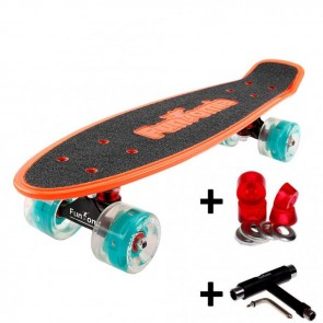 FunTomia® Mini-Board orange mit Big Wheel LED Rollen und ABEC11 Kugellager inkl. 1x T-Tool+Lenkgummis