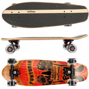 Cruiser Skateboard mit LED Rollen aus 5-lagigem kanadischem Ahornholz und 2 Lagen Bambusholz