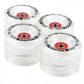 4x  FunTomia® LED Mini-Board/Skateboard Big Wheels (Rollen) 80A inkl. Mach1® Kugellager und Metall Spacer in weiß