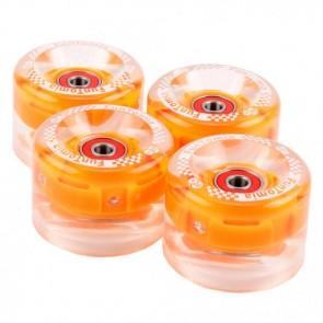 4x  FunTomia® LED Mini-Board/Skateboard Big Wheels (Rollen) 80A inkl. Mach1® Kugellager und Metall Spacer in orange