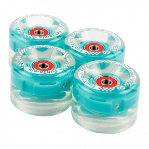 4x  FunTomia® LED Mini-Board/Skateboard Big Wheels (Rollen) 80A inkl. Mach1® Kugellager und Metall Spacer in petrol