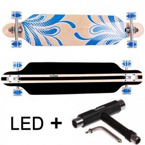 FunTomia® Freerider Longboard 9 Lagen Ahornholz in Farbe blau/Blume mit blauen LED Rollen T-Tool