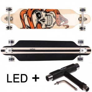 FunTomia® Freerider Longboard 9 Lagen Ahornholz in Farbe Schlange/Toterkopf mit schwarzen LED Rollen + T-Tool