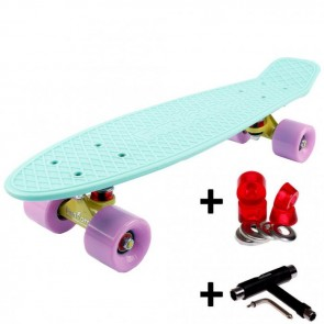 FunTomia® Mini-Board Skateboard und Tragetasche in Pastell-mint mit flieder Rollen + T-Tool + Lenkgummis