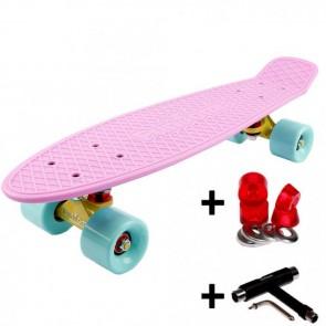 FunTomia® Mini-Board Skateboard und Tragetasche in Pastell-flieder mit mint Rollen + T-Tool + Lenkgummis