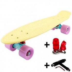FunTomia® Mini-Board Skateboard und Tragetasche in Pastell-gelb mit flieder Rollen + T-Tool + Lenkgummis