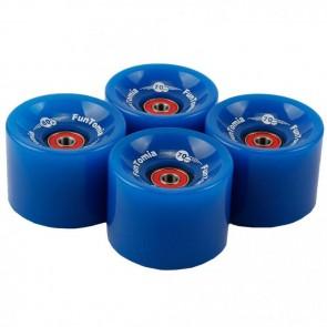 4x FunTomia® Longboard/Skateboard Rollen 80A inkl. Mach1® Kugellager und Spacer in blau