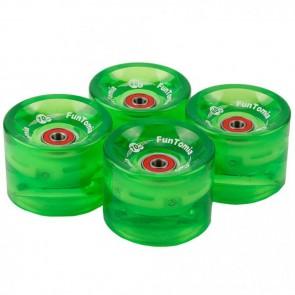 4x FunTomia® LED Longboard/Skateboard Rollen 80A inkl. Mach1® Kugellager und Spacer in grün