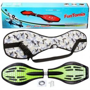 FunTomia® Waveboard mit LED-Rollen 2RS Mach1 Kugellager in Farbe Grün Punkte