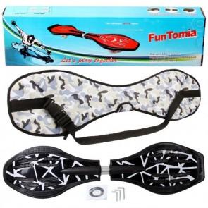 FunTomia® Waveboard mit LED-Rollen 2RS Mach1 Kugellager in Farbe Schwarz weiß