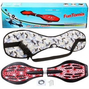 FunTomia® Waveboard mit LED-Rollen 2RS Mach1 Kugellager in Farbe Rot weiß