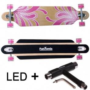 FunTomia® Freerider Longboard 9 Lagen Ahornholz in Farbe pink/Blume mit pinken LED Rollen T-Tool