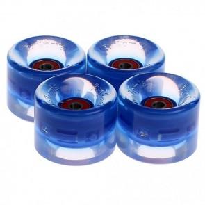 4x FunTomia® LED Skateboard/Miniboard Rollen 59x45mm 82A inkl. Kugellager und Spacer in blau