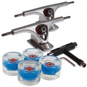 2 Stück FunTomia® Longboard Achse und 4x FunTomia® LED Longboard Rollen 80A in blau +  T-Tool