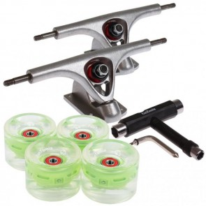 2 Stück FunTomia® Longboard Achse und 4x FunTomia® LED Longboard Rollen 80A in grün +  T-Tool
