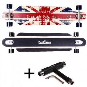 FunTomia® Freerider Longboard 9 Lagen Ahornholz in Farbe England mit T-Tool