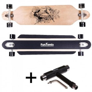 FunTomia® Freerider Longboard 9 Lagen Ahornholz in Farbe Gangster mit T-Tool