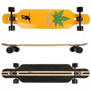 FunTomia® Freerider Longboard 9 Lagen Ahornholz in Farbe Canabis + T-Tool