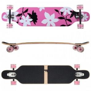 FunTomia Longboard Ahornholz mit Mach1 High Speed Kugellager T-Tool mit LED-Rollen Farbe pink Flower LED (Flex3)