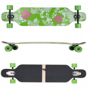 FunTomia Longboard Ahornholz - Farbe Hawaii Blume (Flex1)