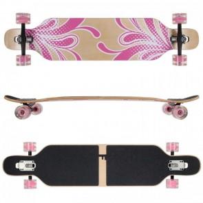 FunTomia Longboard Ahornholz mit Mach1 High Speed Kugellager T-Tool mit LED-Rollen Farbe pink Blume LED (Flex3)