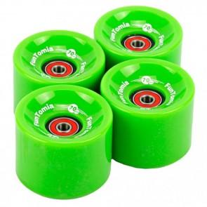 4x FunTomia® Longboard/Skateboard Rollen 86A inkl. Mach1® Kugellager und Spacer in Grün