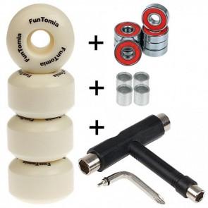 4x FunTomia Rillen-Profil Rollen für Skateboard inkl. ABEC-9 Kugellager / Härtegrad 100A und T-Tool Schraubenschlüssel (Werkzeug)